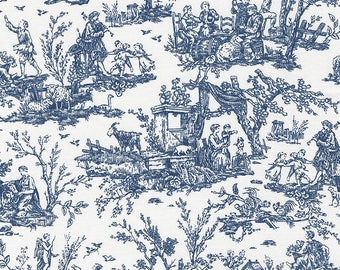 True Blue - Scenic Toile White from Timeless Treasures