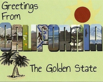 California Postcard - Handmade - Old Fashioned Big Letter Style Large Letter - State Souvenir