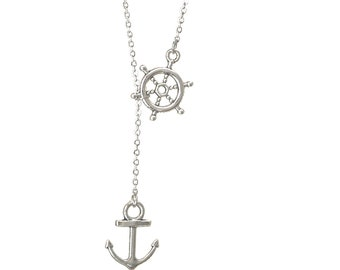 Nautical Lariat Necklace, Rudder Anchor Necklace, Wheel and Anchor Silver, Navy Wife Veteran Gift for Her