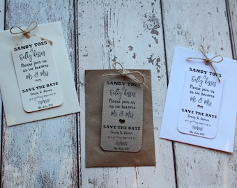 Save the Date tags Invitation with envelopes and twine Sandy toes & Salty kisses ABROAD WEDDING