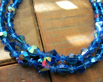 Vintage 1950s Glass Bead Necklace - Double Strand - Choker - Blue AB - Mid Century