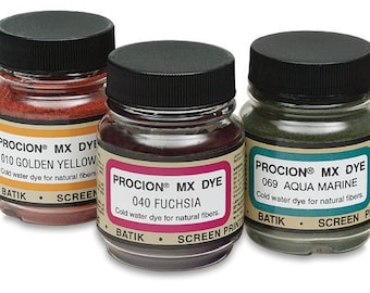 You Choose Three Jacquard Procion MX Dye 2/3 Oz. Jars -  Free Shipping
