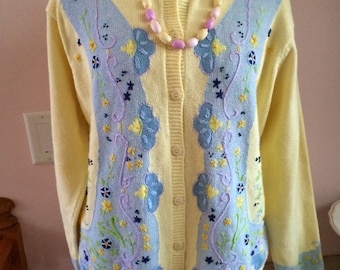 Eagle's Eye Sweater In Stitches 90's Easter Spring Yellow Pastel Ladies Medium-Large with Matching Beads