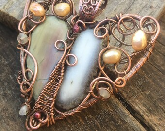 Ready to Ship, Two halves make a Whole Heart pendant, Copper, Pearls, Moonstone, Imperial Jasper, and Solar Quartz ThePurpleLilyDesigns