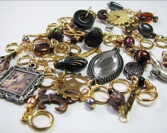 1/2 Set - A Compendium of Steampunk Stitch Markers Based on Prof. Roesia Wheatear Knowlan's Charm Bracelet