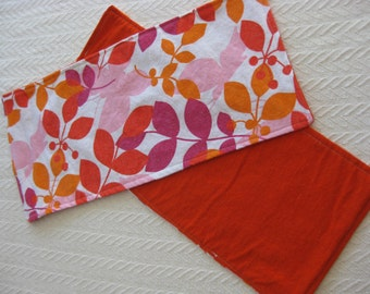 Two Flannel Burp Cloths Orange, Yellow, Magenta, and Pink flowers with Orange back