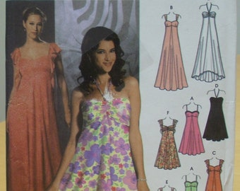 Simplicity 5044 Dress sewing pattern with straps or flutter sleeves 14 - 22 UNCUT