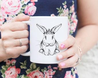 Royal Bunny Mug - Gifts For Bunny Owner, Bunny Lover, Bunny Art, Bunny Gift, Rabbit Gift, Rabbit Gift, Rabbit Art, Rabbit Lover, Princess