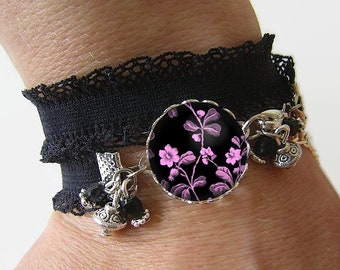 Bracelet Cotton spandex with a 18 mm cabochon * flowers * (020617)