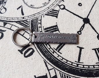 I Double Heart the Doctor - Doctor Who Inspired Aluminum Key Chain Fob - Hand Stamped