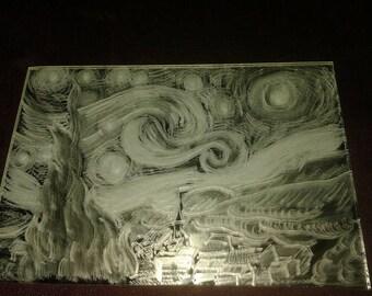 Starry Starry Night - Hand Engraved Mirror(15 x 10 cm)
