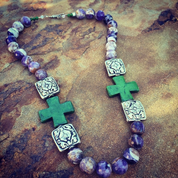Purple Agate with Green Howlite Crosses Boho Statement Necklace and Earring Set