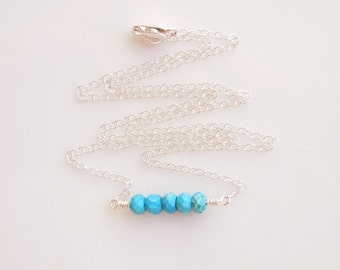 Turquoise Necklace in Sterling Silver - Handmade Jewelry