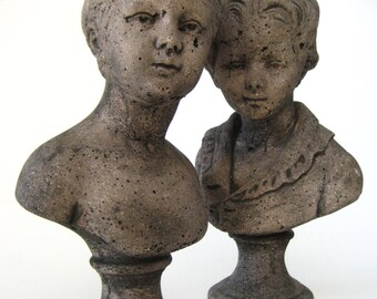 Vintage Girl & Boy Garden Statues, Concrete French Bust Sculptures