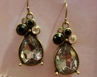 Dainty pretty large diamante teardrop earrings