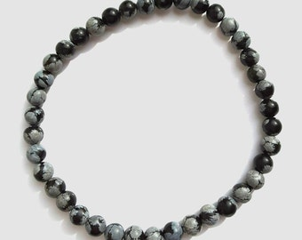 Mens Black Obsidian Stone Bead Stretch Bracelet, Black and Gray Natural Gemstone Beaded Jewelry for Men, Fathers Day Gift