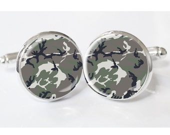 Camoufloge Mens Cufflinks - groomsmen- Cufflinks - wedding cufflinks gifts - custom mens cufflinks - camo cufflinks - mens gifts- hunting