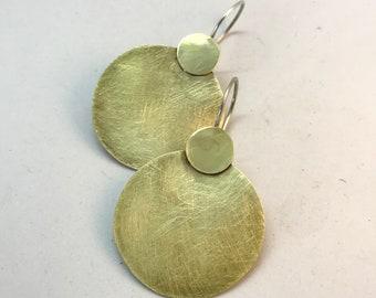 Sterling silver and brass  earrings handmade jewel geometric style