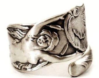Little Mermaid Ring, Small Sterling Silver Spoon Ring, Mermaid Jewelry, Art Nouveau Mermaid, Ocean Ring Adjustable Ring Size, Beach Ring 293
