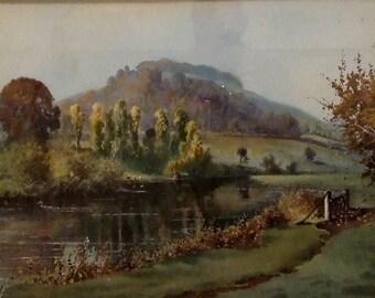 Original antique watercolour Conway Lloyd Jones View of the River Avon 1892 English landscape art listed artist Worldwide shipping