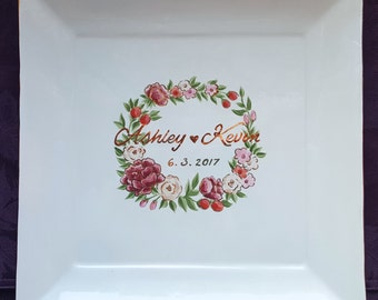 WEDDING GUEST BOOK Alternative Guest Book / guest book/ signature plate / sign in platter / Elegance Floral Wreath