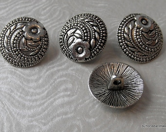 4 Tibetan Style Antique Silver Shank Buttons with an Ornate Design 17mm