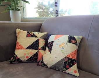 Handmade Quilted Cushion Covers, Peach Cream Black Geometric Triangle Pillowcases, Lounge Bedroom Decor, Cover ONLY