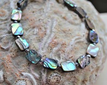 ABALONE SHELL Toggle Bracelet Minimalist Bracelet Natural Abalone Shell Hematite Accent Beads