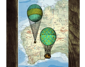 Hot air Balloons print on a Map from  Vintage Atlas Book Print  map print Balloon Print on Vintage Book art TVH076