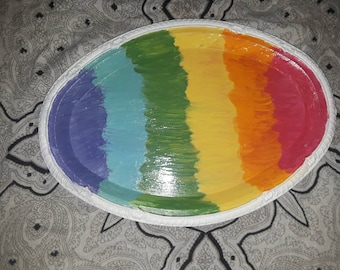 Hand Painted Rainbow Rolling Tray