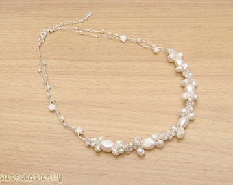 White freshwater pearl necklace with glass beads on silk thread, bridal necklace, wedding jewelry
