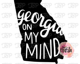 Georgia On My Mind Vinyl Decal, State of Georgia On my Mind, Yeti Decal, Georgia Sticker, Hometown Sticker, Hometown Decal