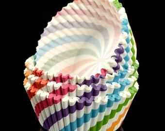 Rainbow Swirl Cup Cake Liner. Birthday cupcake liner. 50 CUPS