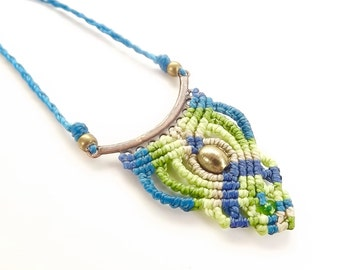 Macrame Necklace, Boho Necklace, Blue And Green Fiber Necklace,