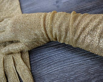 Gold Lurex Opera Gloves Vintage Gloves Made in Hong Kong NYLON SIMPLEX Glove Size 7.5 Longer Length Gloves Party Occasion Wear