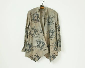 small, medium, xl, 2x and 3x tan and gray hand painted and printed cotton jacket with boxwood