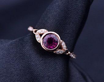 Hollow Carved Red Tourmaline Rubellite Diamond Bezel Setting Engagement Ring in 18k Rose Gold Wedding Birthday Anniversary Valentine's