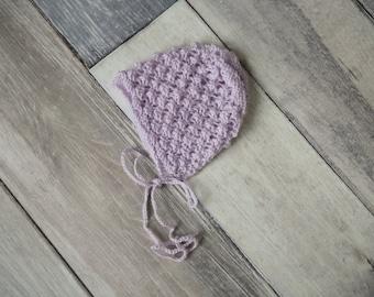 Lilac Newborn Bonnet  ,Knit Bonnet for  Newborn Baby Girls  ;Baby Knit Bonnet