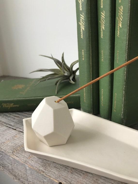 Porcelain Incense Holder, Modern Geometric Indoor or Outdoor Design