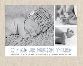 Modern birth Announcement: 3 Photo Birth Announcement. Multiple photo birth announcement