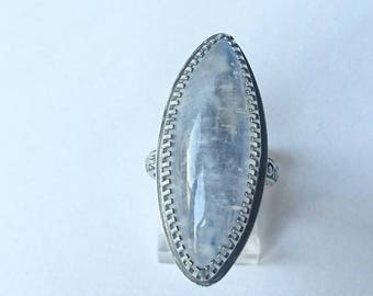 SALE Sterling handmade large marquise moonstone ring, hallmarked in Edinburgh