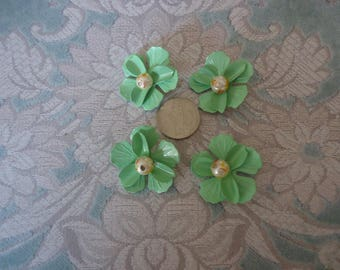 """Vintage 1 1/4"""" Painted Steel Flower Finding w/ Faux Pearl Center, Light Green, Jewelry Design, Craft Supply, Back Loop - 3PC"""