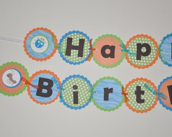 Bug Banner. Birthday Banner. Insect Banner. Happy Birthday Banner. Choose boy or girl