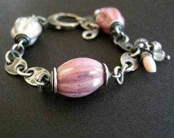 pink vintage bead bracelet, sterling silver link bracelet, large bead bracelet