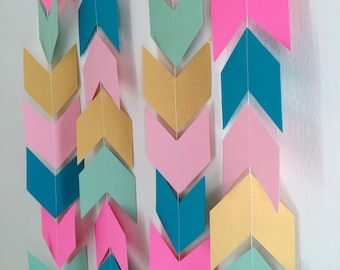 Tribal garland - Gold Aztec baby shower banner - Pow wow birthday decor - Camping birthday garland - Baby Shower decor- your color choices