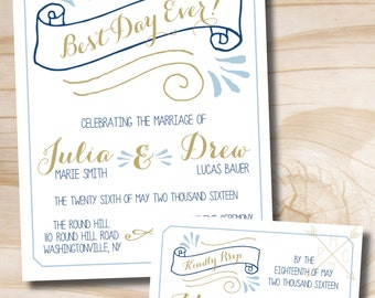 Best Day Ever Navy and Gold Wedding Invitation and Response Card Invitation Suite