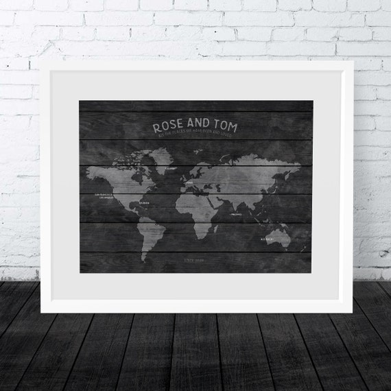 Wood look wall map world map wall art world travel map wood look wall map world map wall art world travel map print personalised world map traveller gift honeymoon map anniversary gift gumiabroncs Choice Image