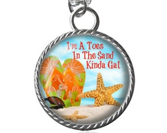 Beach Necklace, Summer Necklace, Toes In The Sand Quote Image Pendant Key Chain Handmade