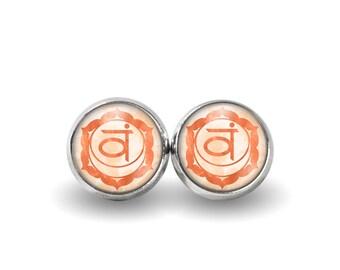 Sacral Chakra Stud Earrings | Chakra Earrings Boho Earrings Sacral Chakra Earrings Svadhisthana Chakra Orange Chakra Jewelry Yoga Earrings