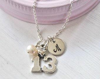 13th birthday Necklace, Personalized Girls Necklace, Hand Stamped Girls Necklace, Girls Jewelry, Thirteenth birthday girl